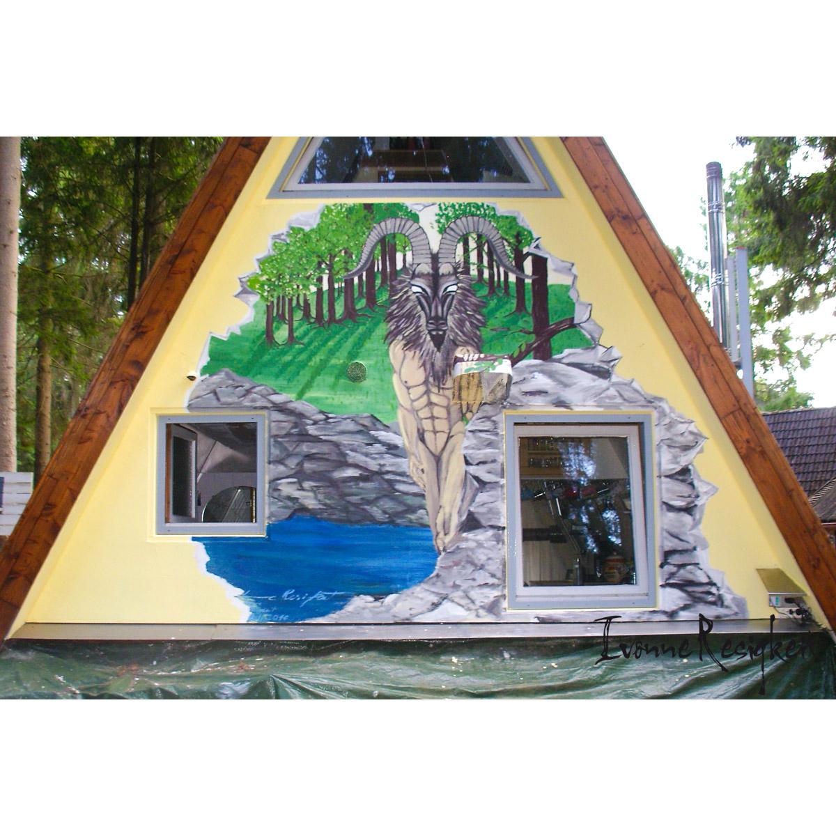 Fassadenfarbe auf Hauswand